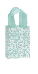 500 Wholesale Small Aqua Damask Frosted Plastic Shopping Bags
