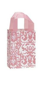 100 Wholesale Small Pink Damask Frosted Plastic Shopping Bags
