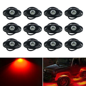 12x Red Cree Led Rock Light Off Road Underglow Foot Wheel Well Lamp Truck Trail