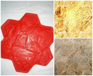 Concrete Texture Stamp Mat Polyurethane For Printing On Cement Mat Stone Flower