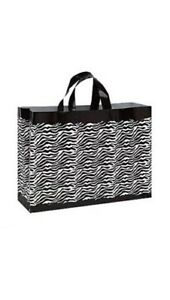 500 Wholesale Large Zebra Print Frosted Plastic Shopping Bags
