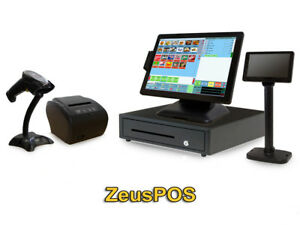 Retail Point Of Sale System Zeus Pos Hardware Bundle W Lcd Pole Display