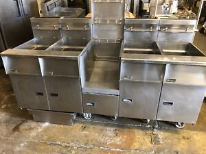 Pitco Natural Gas 4 Bay Deep Fryer W Basket Station Filtration Works Great