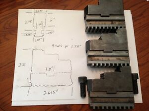 3 Piece Metal Lathe Chuck Jaw Set Large 8 6 Hard 58