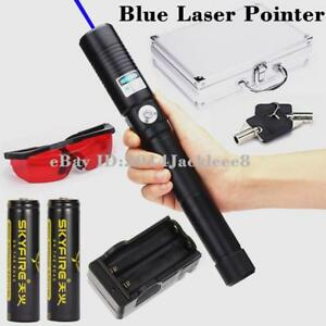 New High Power Blue Laser Pointer 5000lm Laser Pointer Pen Burning Match 2x18650