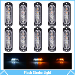 10 Amber white 4led Emergency Car Side Marker Grille Flash Strobe Hazard Lights