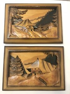 Set 2 Vintage Hand Carved Stained Wooden Relief Picture Germany Black Forest