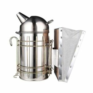 Stainless Steel Bee Hive Box Smoker Large Beekeeping Equipment With Hanging Hook
