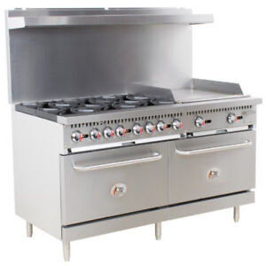 Cooking Performance Group Lp Or Ng 6 Burner 60 Range With 24 Griddle And Ovens