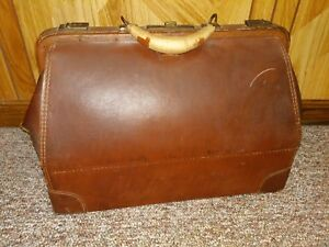 Antique Doctor Bag Brown Leather Cowhide Travel Bag Suitcase
