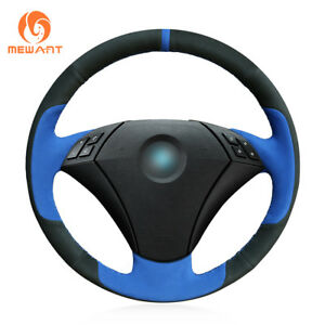 Durable Blue Black Suede Steering Wheel Cover For Bmw 5 Series E60 E61 2004 2010