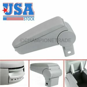 Us Grey Leather Console Center Armrest Box For 99 04 Vw Jetta Bora Golf Mk4 Ct