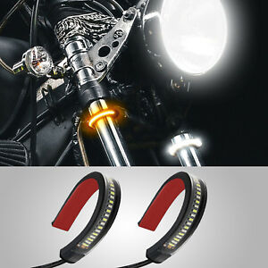 2x Motorcycle White Amber Switchback Led Turn Signal Daytime Drl Light Strips