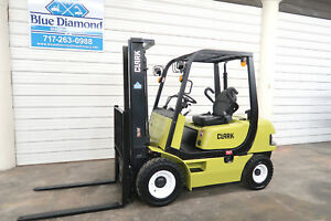 2011 Clark 5 000 Diesel Pneumatic Tire Forklift Two Stage Sideshift Low Hr