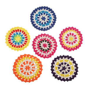 6x Boho Style Colored Hand Crochet Lace Doily Table Placemat Coaster Cup Mat