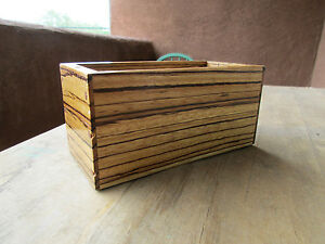 Handmade Wooden Desk Organizer Office Box Container Signed By Red Wood