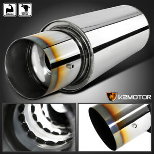 Burnt Tip 3 Inlet 4 Outlet Spiral Flow N1 Style Exhaust Muffler W Silencer