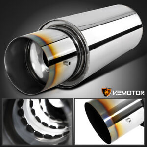 Burnt Tip 2 5 Inlet 4 Outlet Spiral Flow N1 Style Exhaust Muffler W silencer