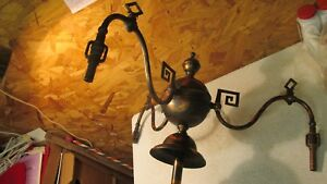 Antique Coppertone Japaned Brass 3 Arm Gas Light Fixture Greek Key