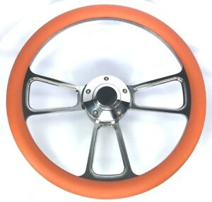 14 Polished Billet Steering Wheel orange Half Wrap Grip Horn Button