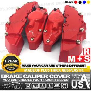 4 Pcs Red Brake Caliper Covers Style Disc Universal Car Front And Rear Kit Lw04
