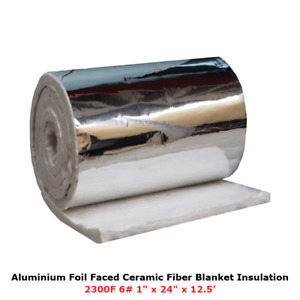 1 Aluminium Foil Faced Ceramic Fiber Blanket Insulation 6 2300f 24 X 12 5