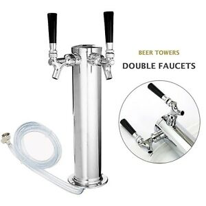 Beer Tap Tower Double Faucet Draft Stainless Steel easy To Use Beer Tower Cooler