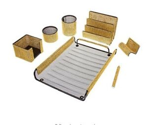 7 Piece Majestic Home Or Office Supply Desk Set Organizer Gold Mesh Bling Gift