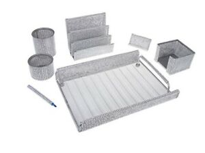 7 Piece Majestic Home Or Office Supply Desk Set Organizer Silve Mesh Bling Gift