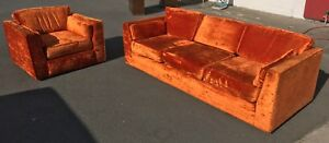 Mid Century Modern Sofa And Lounge Chair 1973 Orange Crushed Velvet
