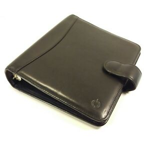 Franklin Covey Classic Full Grain Black Nappa Leather Planner Binder Organizer