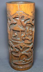 Antique Chinese Bamboo Brush Pot Carved 12 Tall