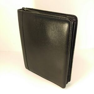 Franklin Covey Quest Classic Top Grain Black Leather Planner Zipper Binder