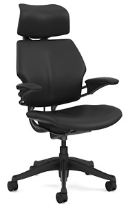 Humanscale Freedom F213 Black Bizon Leather Office Desk Chair With Advanced Arms