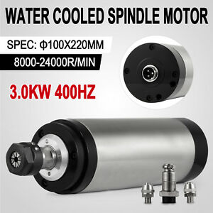 3kw Cnc Water Cooled Spindle Motor Er20 Mill Grind 220mm Bearing Local Shipping