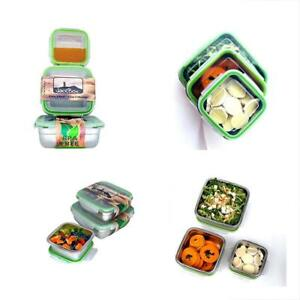 Food Storage Containers Stainless Steel Square Set Of 3 Jacebox Leak Proof Bento