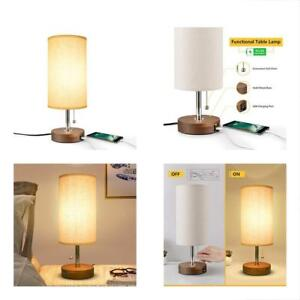 Table Lamp Usb Bedside Desk Lamp Minimalist Modern Solid Wood Nightst Lamp With