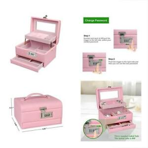 Medium Portable Jewelry Box Gift With Combination Lock Safe Travel Box Storage O