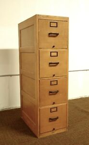 Vintage Globe Wernicke 4 Drawer Oak File Cabinet