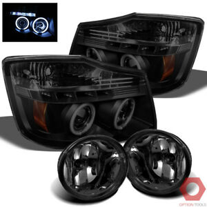 Fits 04 15 Titan Ccfl Halo Projector Headlights smoked Fog Lights smoke