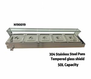 56 5 pan Well Bain marie Food Warmer Steam Table 1500w With Pans