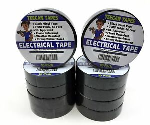 Black Electrical Tape Vinyl Electric 10 Pack 7 Mil Thick 3 4 Inch Wide 66 Fo New
