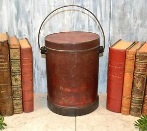 Antique Red Metal Can With Handle Lunch Pail Container Fishing