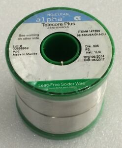 Alpha Telecore Plus J std 004 rol0 025 Dia No clean Lead Free Solder