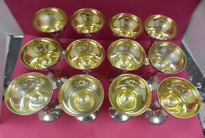 12 Antique Sterling Silver Goblets Frank W Smith Je Caldwell Co Gold Gilt