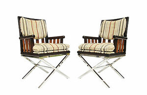 Pair Of Bernhardt Flair Wood Chrome X Base Campaign Style Arm Chairs