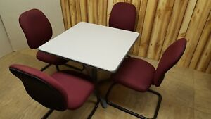 Conference Meeting Table 36 Sq With 4 Sitonit Seating Fabric Chairs