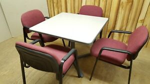 Haworth Conference Table 36 Sq With 4 Globe Fabric Chairs