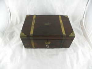 Antique 1800 S Portable Wooden Travel Writing Lap Desk Document Box W Ink Well