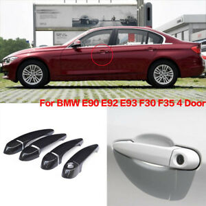 Carbon Fiber Exterior Door Handle W o Smart Key Cover Trims For Bmw E90 E92 F35